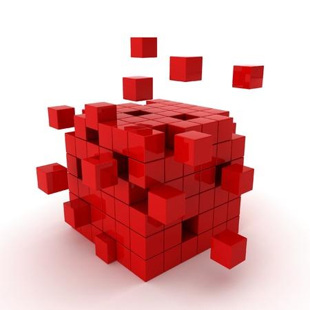 detach: cube chaos - 3d render on white
