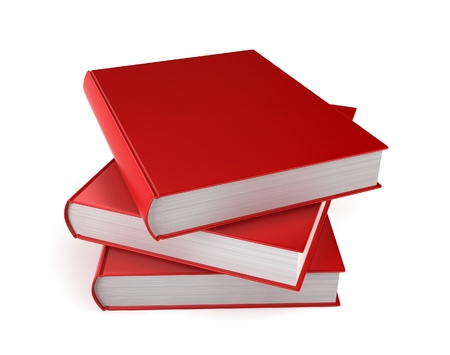 Stack of blank books. 3d illustration on white background