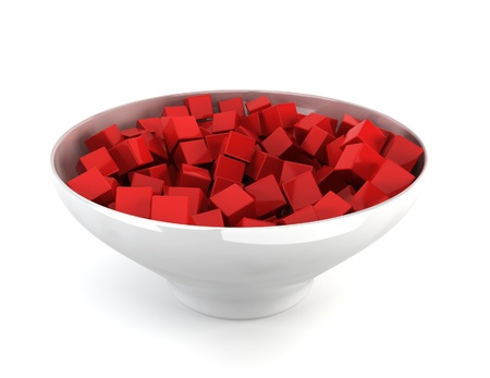 alling: Colour cubes in bowl. 3d illustration on white background  Stock Photo