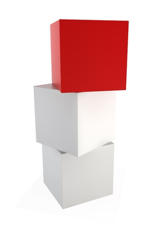tower block: Three cubes. 3d illustration on white background  Stock Photo