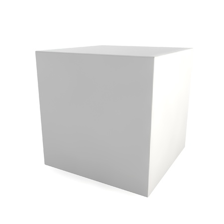 starting: Blank cube. 3d illustration on white background