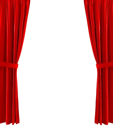 white curtain: Red curtains. 3d illustration on white background  Stock Photo