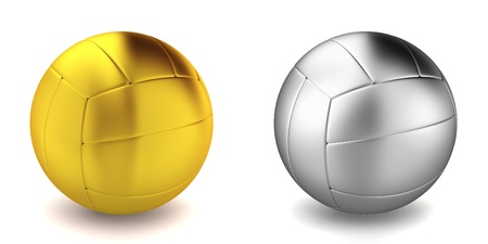 chrome metal: Volleyball ball. 3d illustration on white background