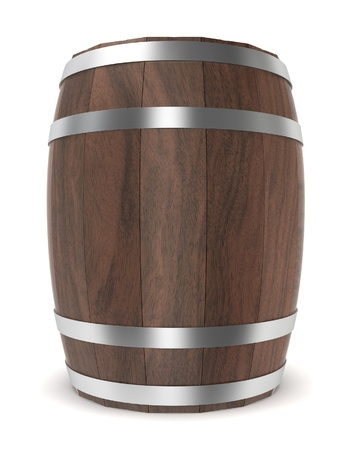 beer barrel: Wooden barrel. 3d illustration on white background  Stock Photo