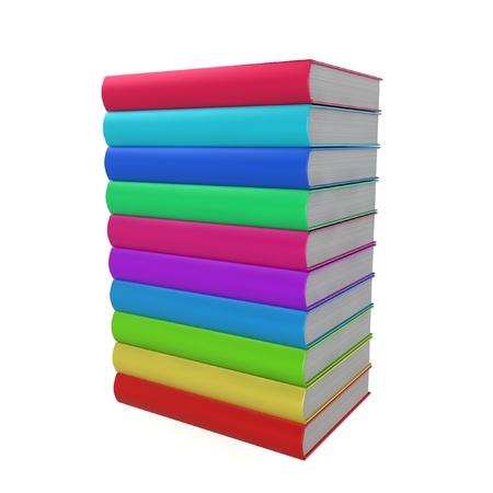 Stack of coloured books. 3d illustration on white background