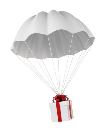 Parachute met een geschenkdoos. 3D-afbeelding op een witte achtergrond Stockfoto
