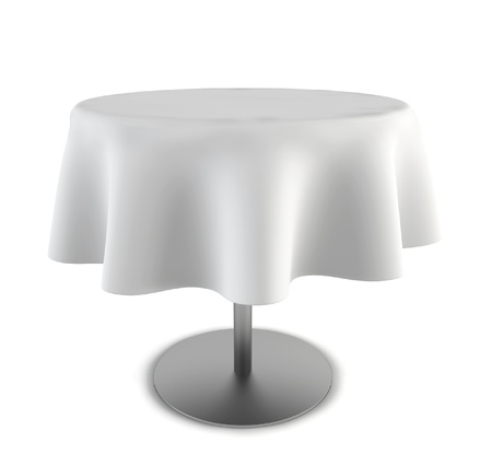 Table ronde. 3d illustration sur fond blanc