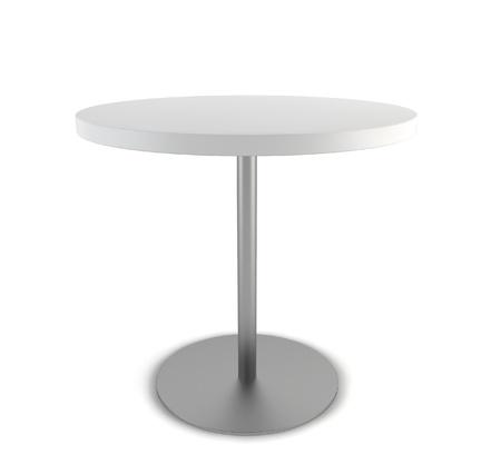 Ronde tafel. 3D-afbeelding op een witte achtergrond