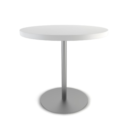 white cloth: Round table. 3d illustration on white background