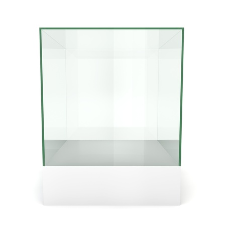 Glass cube on pedestal. 3d illustration on white background  illustration