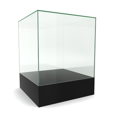 exhibit: Glass cube on pedestal. 3d illustration on white background