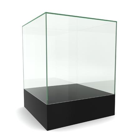 Glazen kubus op voetstuk. 3D-afbeelding op een witte achtergrond