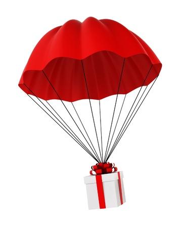 fallschirm: Fallschirm mit einem Geschenk-Box. 3D-Darstellung auf wei�em Hintergrund