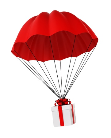 Parachute with a gift box. 3d illustration on white background 版權商用圖片 - 21850064