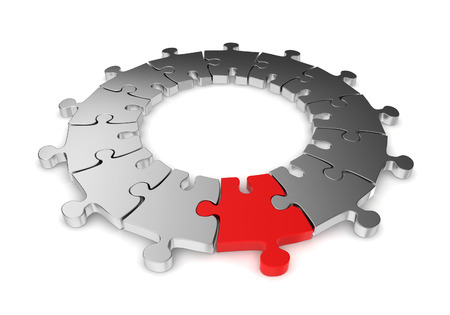 business game: Jigsaw ring with unique one. 3d illustration on white background