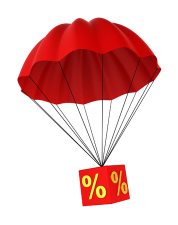 percentage sign: Parachute with a discount sign. 3d illustration on white background