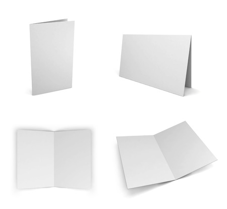fold: Blank greeting card. 3d illustration isolated on white background Stock Photo