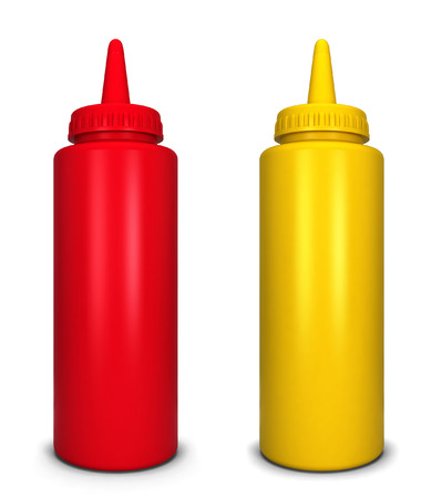 squirting ketchup: Ketchup and mustard bottles. 3d illustration isolated on white background