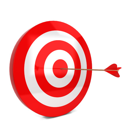 hits: Arrow hits the target. 3d illustration isolated on white background