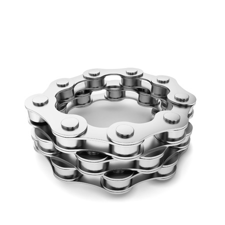 Bike chain. 3d illustration isolated on white background