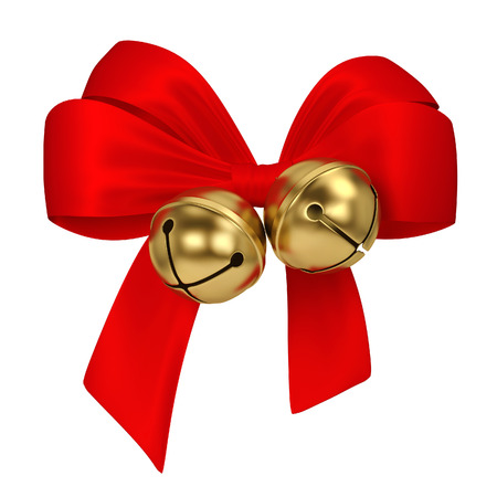 Jingle bells with bow. 3d illustration isolated on white background