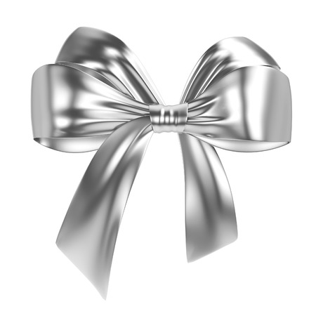 Silver bow. 3d illustration isolated on white background