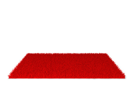 red carpet background: Shaggy carpet. 3d illustration isolated on white background Stock Photo