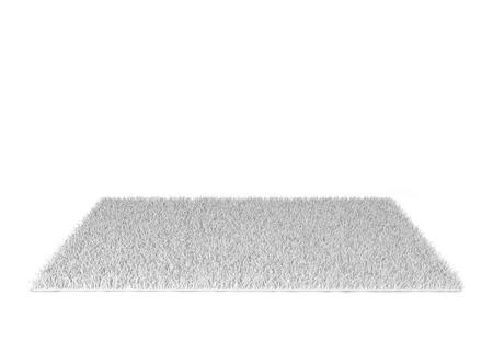 Shaggy tapijt. 3D-afbeelding op een witte achtergrond