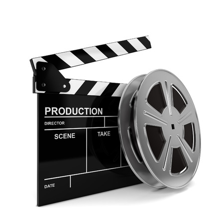 Cinema film and clap board. 3d illustration isolated on white background