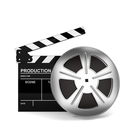 clap board: Cinema film and clap board. 3d illustration isolated on white background