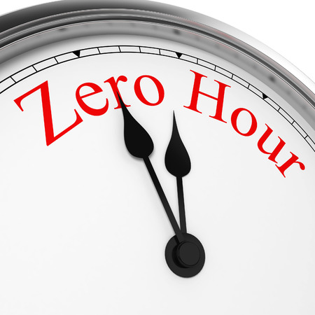 Zero hour on a clock. 3d illustration isolated on white background
