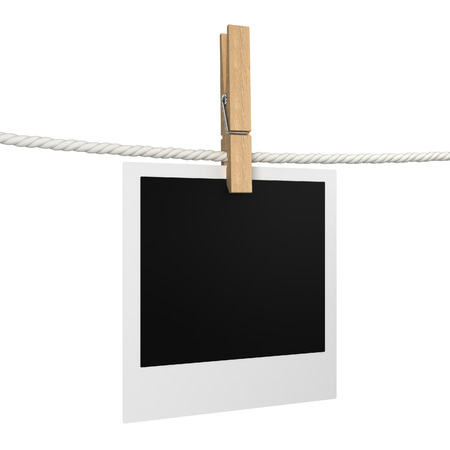Photo hanging on a rope. 3d illustration isolated on white background illustration