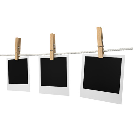 Photos hanging on a rope. 3d illustration isolated on white background illustration