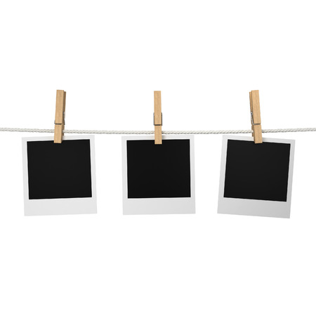 Photos hanging on a rope. 3d illustration isolated on white background