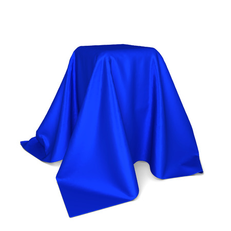 unveil: Box covered with cloth. 3d illustration isolated on white background Stock Photo