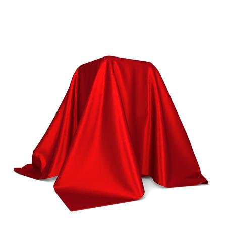 discreto: Box cubierto con tela. 3d ilustración aisladas sobre fondo blanco Foto de archivo