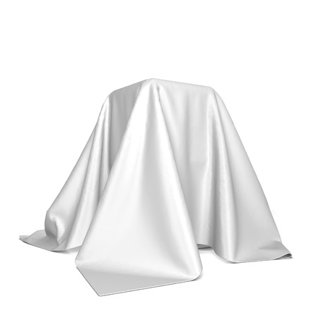 Box covered with cloth. 3d illustration isolated on white background Stockfoto