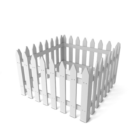 front gate: White fence. 3d illustration isolated on white background