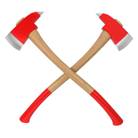 ax: Firefighter axes. 3d illustration isolated on white background Stock Photo