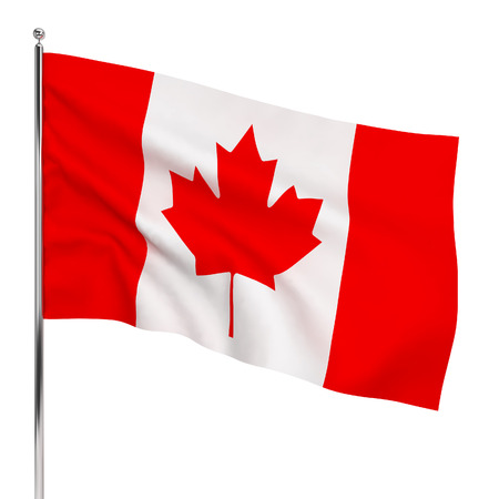 Flag of Canada. 3d illustration isolated on white background
