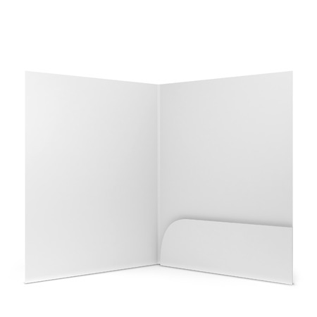 Blank paper folder. 3d illustration isolated on white background Foto de archivo