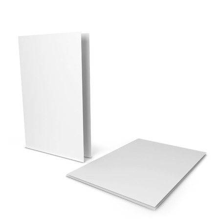 cover up: Blank paper folder. 3d illustration isolated on white background Stock Photo