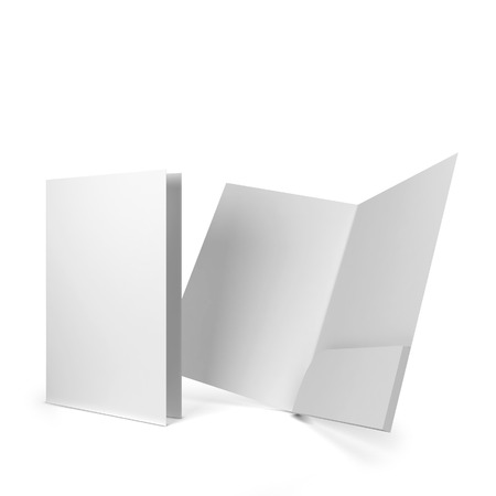 Blank paper folder. 3d illustration isolated on white background 版權商用圖片