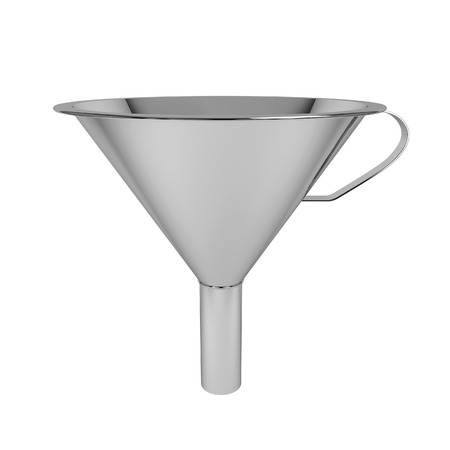 Steel funnel. 3d illustration isolated on white background Stok Fotoğraf