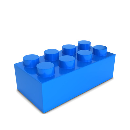 Toy brick. 3d illustration isolated on white background Imagens