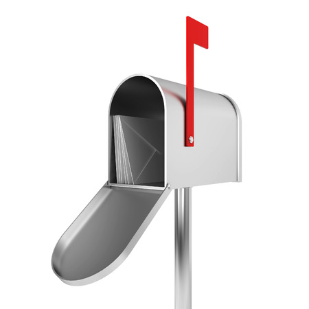 metal mailbox: Silver mailbox. 3d illustration isolated on white background