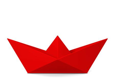 Papieren bootje. 3D-afbeelding op een witte achtergrond Stockfoto