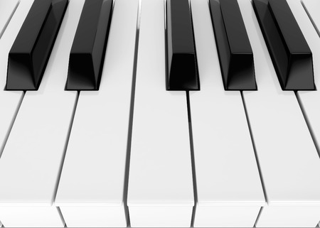 symphonic: Piano keys. 3d illustration isolated on white background