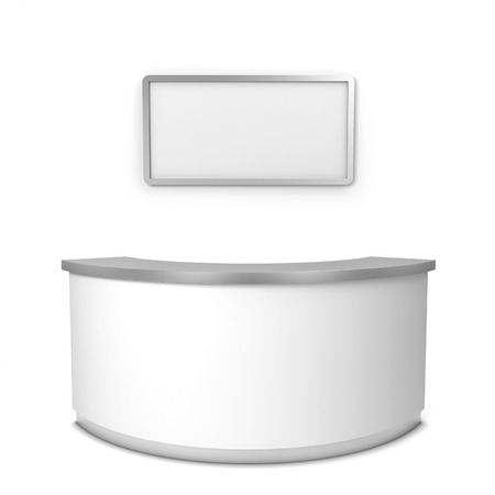 Blank reception counter. 3d illustration isolated on white background Foto de archivo