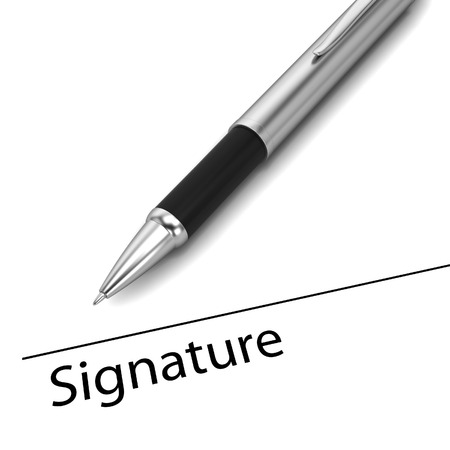 signing document: Business contract. 3d illustration isolated on white background Stock Photo